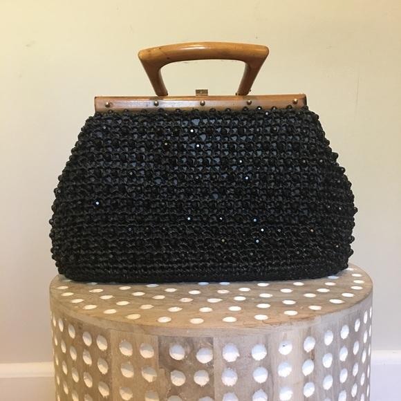 Vintage Handbags - Vintage Gaymode Beaded Black Purse w/ Wood Handle